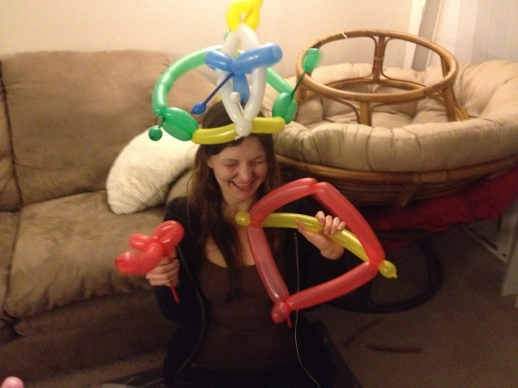 Lainie wearing a balloon hat