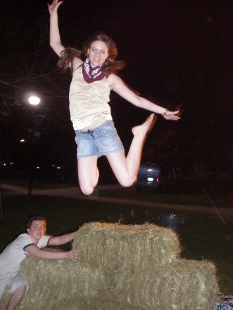 My jumping off a haystack.