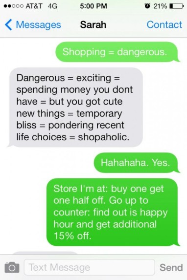 Shopping Texting Conversation